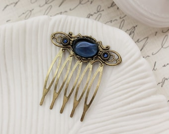 Navy Blue Small Hair Comb in Antique Brass