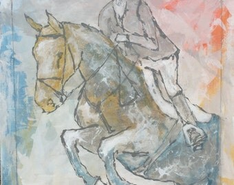 Horse painting, Equestrian canvas painting, Original fine art - Large 30x30 inches Original Acrylic Canvas Painting, Abstract Painting