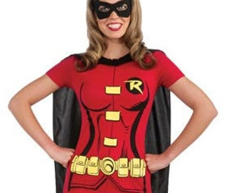 Women's Robin T-Shirt with Cape and Mask- Halloween Costume Dress Up Superhero