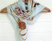 Scarf, Dogs, Pale Blue, by mailordervintage on etsy