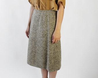 "30% OFF SALE Vintage 60s Gray and Mustard Pendleton Tweed Straight Skirt   26"""