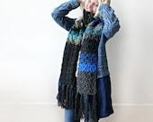 Long Blue Grey Scarf Fringed Scarf Extra Long Scarf Long Scarves Ribbed Scarf Knit Scarf- Crochet Scarf- Womens Long Scarf- Unique Scarf