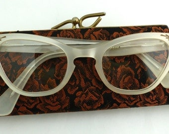 STUNNING Pin Up Rare 1950'S Cateye Cats eye  / Eyeglasses Made in FRANCE/ with cool hard case