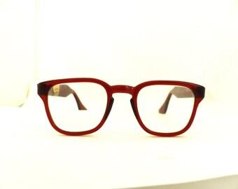 1950s  Eyeglasses // 50s Vintage Readers Frames // Brown Wayfarer Style // USA .