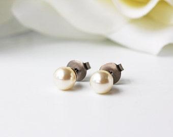 Small Cream White Pearl Titanium Stud Earrings Swarovski Simple Everyday Timeless