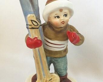 Vintage Lefton skiing boy- February figurine