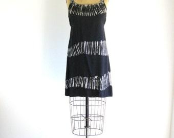Black Tie Dye Dress Vintage 1990s Hippie Grunge Mini Dress M