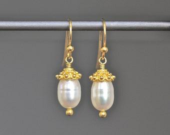 Oval Pearl Earrings - Pearl and Gold Earrings - Wedding Jewelry - Pearl Wire Wrapped Earrings - Jewelry for the Bride - Anniversary Gift