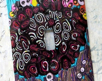 Flower Garden, abstract polymer clay design on metal switch plate cover, turquoise, pink, purples, gray, lime, orange