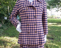 Womens 60s Coat / 60s Costume / 60s Skirt in Plaid / Vintage Coat/ Pea Coat / Plaid Skirt/ Plaid Suit