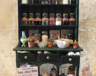 Victorian Apothecary Cupboard, Vintage Pharmacy, Medicinal Potions and Cures, Poison Bottles