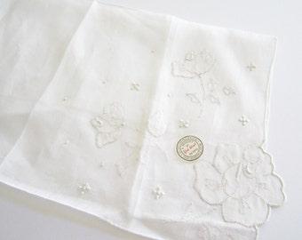 York Street MADEIRA Embroidered BRIDAL HANKY Whitework Hankie Handkerchief