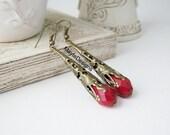 Red Earrings/ July Birthstone Earrings/ Birthstone Jewelry/ Red Long Dangle Earrings/Filigree Cone Earrings/Ruby Red Earrings/Valentine's