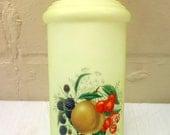 1920's Milk Glass Tall Apothecary Lidded Jar