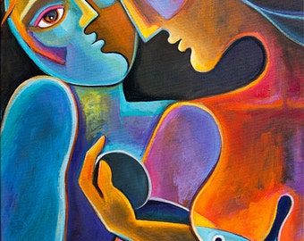 Cubist Painting Abstract Modern Art Original acrylic Marlina Vera Artwork Fruit of Love Couple Love Mother Father mère père Madre figurative