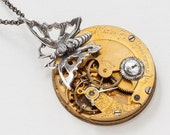 Steampunk Necklace Vintage Engraved Victorian Gold Pocket Watch Movement with Gears, Swarovski Crystal Stone & Silver Butterfly Pendant