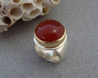 Red Carnelian Ring in 18k Gold and Sterling Silver, Cornelian Ring