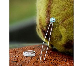 "Something Blue Rhinestone 3"" U Hair Pin. Couture Bridal Beaded Gift Sophisticated, Bride Bridesmaid Trendy Wedding, Silver Golden Black Fork"