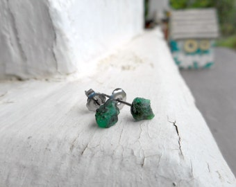 The Twilight Meadow Earrings. Genuine Emerald Raw Rough Specimens & titanium post earrings. Ear studs. simple delicate romantic