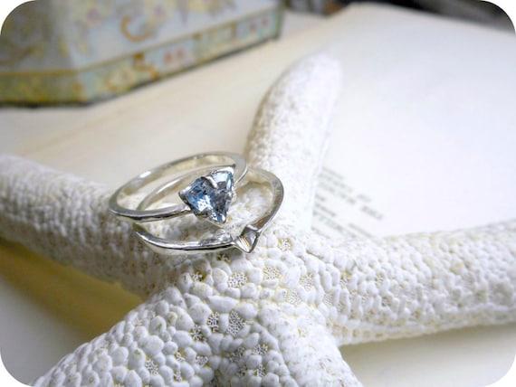 Lilac Whisper. Tanzanite Trillion Cut .50 CT. Solitaire Engagement Matching Wedding Band Ring Set Handmade Sterling Silver OOaK Organic Mod