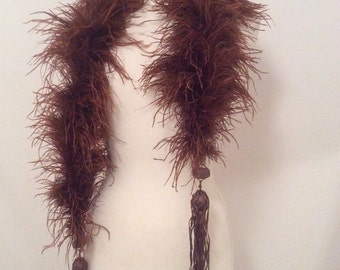 Vintage 1920s Feather Boa Copper Brown Flapper Silk Tassels