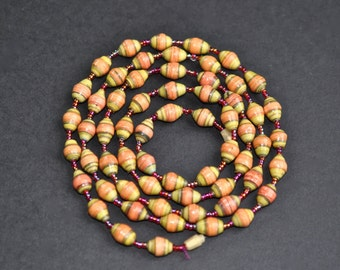 Vintage rolled paper bead necklace paper bead long necklace