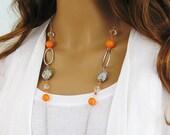 Chunky Orange Necklace, Orange Beaded Necklace, Silver Chain Necklace, Orange Beaded Necklace, Long Beaded Necklace, Long Necklace, N-760
