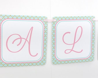 Name Banner - Made to Match Pink Vintage Mermaid Party Birthday Banner