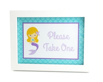 Mermaid Party Sign, Mermaid Birthday Sign, Mermaid Party Decoration, Mermaid Birthday Decoration - 5x7