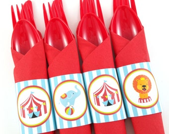 Circus Party Napkin Rings, Circus Birthday Napkin Rings, Circus Silverware Wraps, Circus Party Decorations - SET OF 12