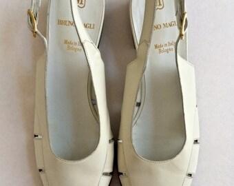 SALE! Bruno Magli Sandals . Vintage White Cream Designer Shoes . Was 40.00