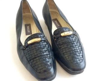 SALE! Bally Loafers . Black Leather Vintage Designer Shoes . Was 30.00