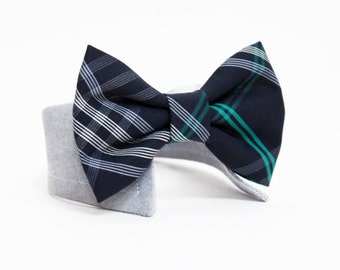 Plaid Dog Bow Tie- Shirt and Bow Tie Collar-  Wedding Dog Bow Tie-  Navy Plaid