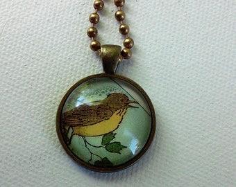 Robin -  1920's Ephemera Pendant - One of a Kind - Second