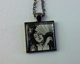 Woman with a Fan -  1890's Ephemera Pendant - One of a Kind