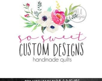 Watercolor Floral Logo, Watercolor Logo, Flowers Logo, Wedding Logo, Custom Logo Design, Photography Logo, Boutique Logo, Premade Logo