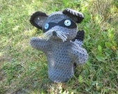 Crocheted Gray and Black Raccoon  Hand  Puppet