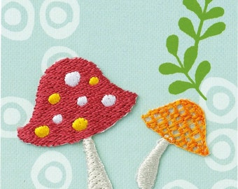 Colorful Mushroom, Kawaii Plant Embroidered Iron On Patch, Japanese Iron on Applique, Made Japan, Natural Motif, Embroidery Applique, W033