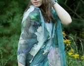 Natural Silk Shawl Hand Painted Silk Scarf White Peonies and Hummingbird Custom Order