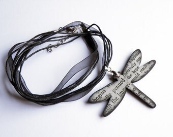 Typewriter dragonfly pendant in black and grey - Reporter Necklace