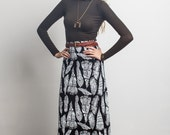 Plume Maxi Skirt in White on Black