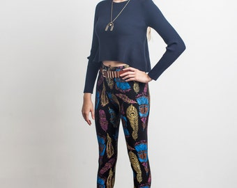 Plume Leggings in Magenta, Bright Blue, and Gold on Black