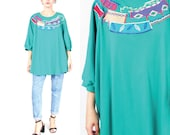 80s 90s Teal Green Tshirt Deadstock Vintage Top Applique Embroidered Top Long Sleeve Tshirt Pullover Tunic Shirt Fall Leaves Plus Size (XXL)