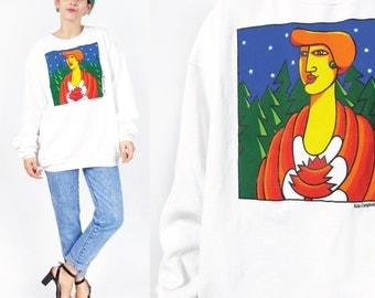 40% OFF SALE 90s Canada Sweatshirt Canadian Sweater Feminist Politics Prime Minister Kim Campbell Deadstock Crewneck White Jumper (L/Xl)
