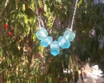 Recycled Glass Necklace | Seafoam Green and Baby Blue Frosted Beads on Silver Chain