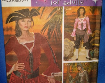 Sewing Pattern Simplicity 4914 Pirate Top, Short Skirt, Pants, Sash Scarf 6-8-10-12 Uncut Unused Costume Free Shipping
