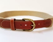 Jordache by Leggin Vintage brown leather fabric belt size 30 with removable buckle