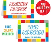 INSTANT DOWNLOAD Building Bricks Party Buffet Cards - EDITABLE Printable File