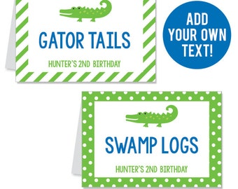 INSTANT DOWNLOAD Alligator Party Buffet Cards - EDITABLE Printable File