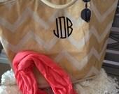 Monogram Shimmer Tote - Mudpie Juco Designs - Beach Bag - Farmer's Market Tote - Personalized Purse